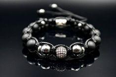 Men's Hematite  Beaded Bracelet Cubic Zironia Bracelet