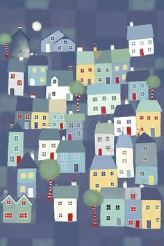 Free eBook Notes: A Blank Isometric Graph Paper Notebook with Town in Cornwall Cover Art Author Nic Squirrell Towns In Cornwall, Rock N Folk, Dot Grid Notebook, Music Notebook, House Illustration, House Quilts, Graph Paper, Naive Art, Little Houses