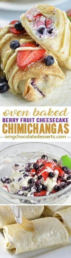 Looking for QUICK and EASY SUMMER DESSERT RECIPE?! Oven Baked Berry Cheesecake Chimichangas are delicious, EASY and FUN DESSERT, perfect as red, white and blue 4th OF JULY PARTY FOOD!!!