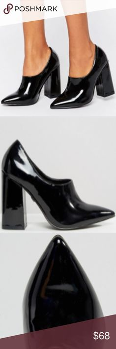 """Daisy Street Patent High Vamp Point Heel Size 9 Patent faux-leather upper Slip-on style Pointed toe Block high heel 100% Polyurethane Upper Heel height: 10cm/4""""  LOOK AFTER ME Wipe Clean With A Damp Cloth ABOUT ME Lining: 100% Other Materials, Sole: 100% Other Materials, Upper: 100% Polyurethane. ASOS Shoes Heels"""