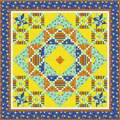 This adorable boys quilt covered with the things that little boys love! Dinos & Robots will be a sure hit! Bright orange, aqua and yellow make it bright and delightful. Quilt finishes at 60in x 60in and includes the pattern. $69.50 for the Kit