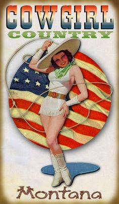Cowgirl USA Vintage Sign | Distinctly Montana Gifts
