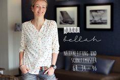 bellah ist eine Bluse für feine, leicht dehnbare Webstoffe. Sie ist angenehm leger geschnitten. Für den schönen Fall sorgen jeweils drei Falten auf der Schulter. bellah kann durchgängig mit...