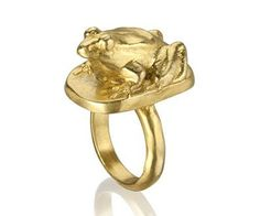 This little frog is just about to jump off your finger! With much attention to detail this ring is both fun and stylish. Gold plated. Frog measures approximately 1'' long, 5/8'' wide, 1/2'' tall.