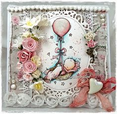 Cards By Becky: Balloon Basket Balloon Basket, 3d Cards, Card Making Inspiration, Pretty Cards, Digi Stamps, Lily Of The Valley, Scrapbook Cards, Scrapbooking, Baby Cards