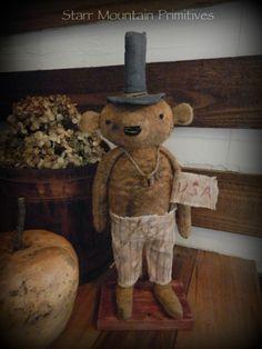 Primitive Uncle Sam Bear  https://www.facebook.com/Starr-Mountain-Primitives-228548684018/timeline/