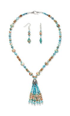 Jewelry Design - Single-Strand Necklace and Earring Set with Resin and Painted Ceramic Beads, Celestial Crystal® Beads and Wood Beads - Fire Mountain Gems and Beads