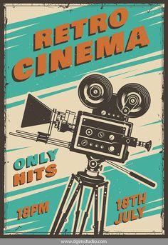 Retro colorful cinema poster with movie camera. Vintage Movie Theater, Vintage Movie Stars, Vintage Movies, Jazz Poster, Poster Art, Cinema Posters, Cinema Film, Film Movie, Movie Posters