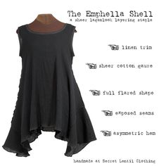 The Emphella Shell - gauze and linen lagenlook layering piece by Secret Lentil