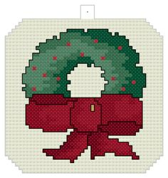 Christmas Wreath Ornament - Downloadable counted cross-stitch pattern from Thomas Beutel Original Designs: $2.49
