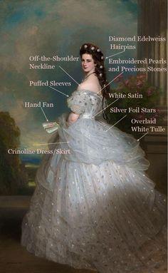 1865 Franz Xaver Winterhalter The Empress Elisabeth of Austria Fashion History Timeline Vestidos Vintage, Vintage Dresses, Vintage Outfits, Victorian Dresses, 1700s Dresses, 1800s Fashion, Victorian Fashion, Vintage Fashion, Fashion Women