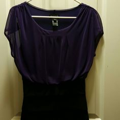 Dress Black and purple dress in excellent condition. Size 6 Dresses Midi