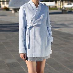핏이 간결하고, 군더더기 없는 파스텔 재킷. 정장, 오피스룩으로도 엣지있게 활용이 가능하다는 사실☺️