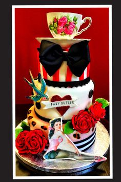 Nautical Rockabilly Corset Cake With Matching Sugarpaste Stiletto - Rockabilly birthday cake