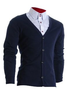 FLATSEVEN Mens Slim Fit Stylish Button up Cardigan (C100) #FLATSEVEN