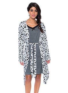 5015ca2b kathy ireland Women's 2 Piece Lace Trim Chemise Nightgown & Belted Wrap  Robe Sleepwear Set in Charcoal Heather