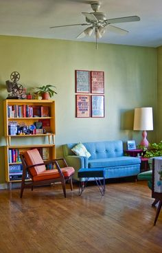 Liz Cook's home via Design Sponge @Shanoc Halliday I love the chartreuse kind of green on the walls..
