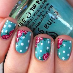 43 Must Try Polka Dot Nail Art Designs - Fashion Star nageldesign kurz Dot Nail Art, Floral Nail Art, Polka Dot Nails, Polka Dots, Dot Nail Designs, Flower Nail Designs, Nail Designs Spring, Nails Design, Cute Nails