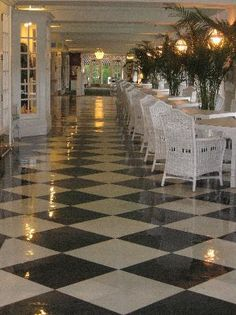 The lunch room, another view of the Grand Hotel on Mackinac Island. Love the flooring.