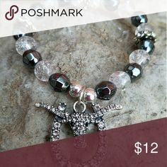 """Longhorn Bracelet Black & White Cracked Glass beaded cuff with rhinestone Longhorn for that extra """"Bling"""". Accessories"""