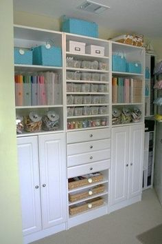 Craft room organization idea.....could use an entertainment center. I've seen so many things like this at yard sales!