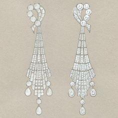 Elegant Earrings by Tiffany: A sketch for Art Deco-inspired diamond earrings   www.cutewomensgifts.com