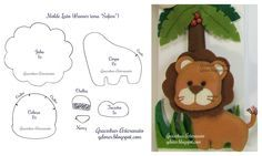 Moldes do leão do banner sob o tema safari | Gracinhas Artesanato