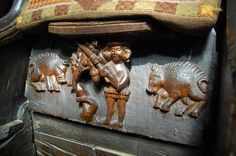 October. A Swineherd knocks down acorns from an oak tree to feed the pigs, Misericord, Great Malvern Priory (by Julian P Guffogg, geograph.co.uk 3087072 1a633032) - Category:Misericords in England - Wikimedia Commons
