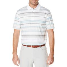 Ben Hogan Performance Men's Ventilated Stripe Golf Polo Shirt, Size: Large, White
