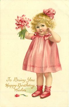 Free freebie printable vintage valentine postcard of girl with flowers. Lots more vintage postcards by the Raphael Tuck on this website