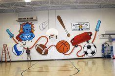 wall mural for sale, school mascot School Wall Decoration, Gym Decor, School Decorations, School Themes, Fitness Gym, Fitness Workouts, Fitness Shirts, School Murals, Art School