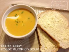 This is the most easiest pumpkin soup and really delicious too! Includes details on how to freeze soup. Regular and thermomix recipes. Crockpot Recipes, Soup Recipes, Healthy Recipes, Cooker Recipes, Delicious Recipes, Healthy Food, Roast Pumpkin Soup, Freezer Cooking, Freezer Meals