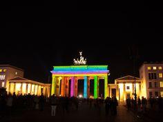 Brandenburger Tor, Berlin, illuminated during the Festival of Lights 2012.  Visit http://netz-fragmente.de/521/festival-of-lights-berlin-2012-die-galerie/ for more.