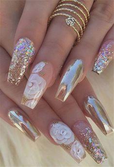 Super Ideas For Holographic Nails Coffin Rose Gold Glam Nails, Bling Nails, Stiletto Nails, Solid Color Nails, Nail Colors, Pretty Nails, Cute Nails, Bridal Nails, Wedding Nails