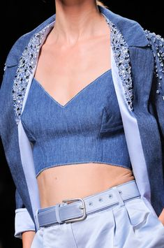 Ermanno Scervino Spring 2014 | denim crop top + jeweled denim jacket