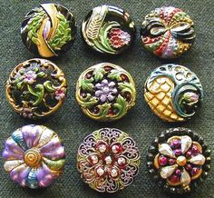 Collection of 9 Czech Antique 1920's Glass Buttons A528 RARE ♥♥♥