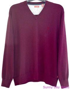 IZOD Mens Sweater Cotton Long Sleeve XXL 45FS393 Solid V Neck Purple 2XL #IZOD #VNeck