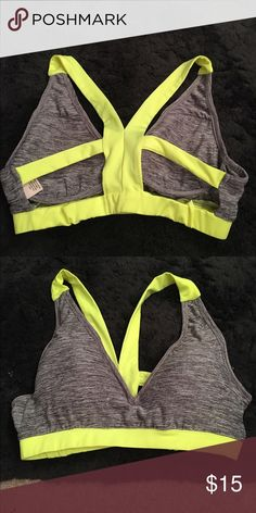 Neon green and gray sports bra Open back straps. Very sexy, push up sports bra. Size medium. Never worn Intimates & Sleepwear Bras
