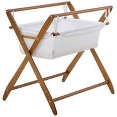 Cariboo New Zealand Gentle Motions Bassinet in Teak Timber / White Fabric