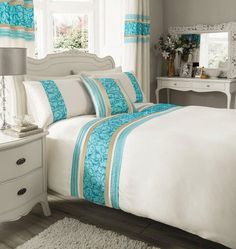 KING SIZE - LUXURY CREAM & TEAL BLUE FAUX SILK DUVET COVER BED SET