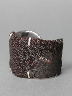 Bracelet by Rene Talmon L'Armee.    Silver and leather.