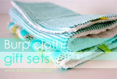 TUTORIAL: Burp Cloths: white chenille   10 x 18  you can cut 12 cloths from 1 yard of 60 inch wide chenille fabric