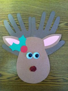A Cupcake for the Teacher: Rudolph, With Your Nose So Bright! Christmas craft for kids #handprints