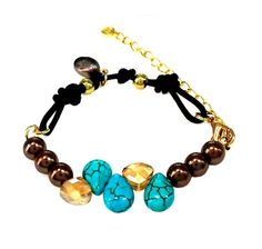 """Bracelet Natural Coffey Pearls, Turquoise & Crytstal Beads Black Cord 7-9""""  #Esung #Beaded"""