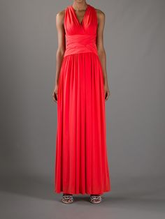 This Halston Heritage Red Silk Chiffon Gown is a full length