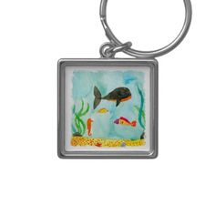 #fishing - #Watercolor Sea view with Whale and Seahorse Keychain