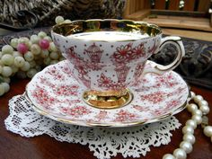 Rosina Tea Cup and Saucer Teacup - 1950s Bone China - Chintz Hand Painted 10616
