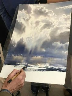 Ideas Landscape Paintings Sky For 2019 Watercolor Clouds, Watercolor Landscape Paintings, Sky Painting, Watercolor Artists, Abstract Watercolor, Watercolor Illustration, Landscape Art, Painting & Drawing, Watercolor Landscape Tutorial