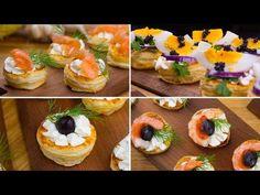 Puff pastry snacks - salmon, shrimp and caviar - blatterteig Rezept Canapes Recipes, Appetizer Recipes, Gourmet Appetizers, Salmon And Shrimp, Puff Pastry Recipes, Christmas Snacks, Antipasto, Party Snacks, Baked Chicken