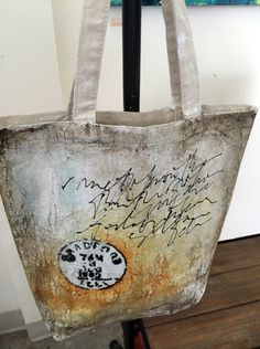 Bag, painted, scribbled and printed Fabric Painting, Fabric Art, Tote Bags, Painted Canvas Bags, Altered Canvas, Diy Bags Purses, Diy Handbag, Art Bag, Textiles